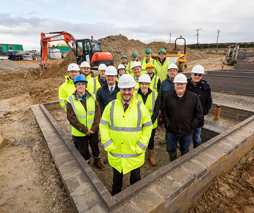 CCLT members Architects Engineers & Parish Councillors were all on site to see builders laying the foundations